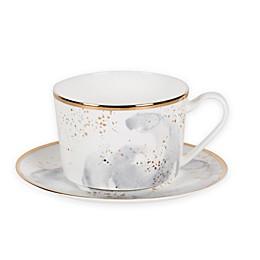 Olivia & Oliver™ Harper Splatter Organic Shape Gold Cup and Saucer in Grey