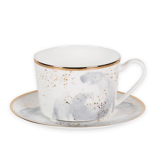 Alternate image 1 for Olivia & Oliver™ Harper Splatter Organic Shape Gold Cup and Saucer in Grey