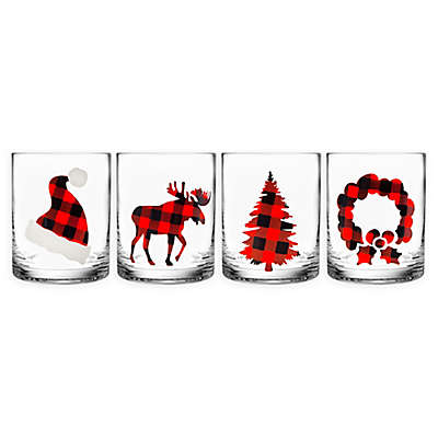 Godinger Holiday Plaid Double Old Fashioned Glasses (Set of 4)