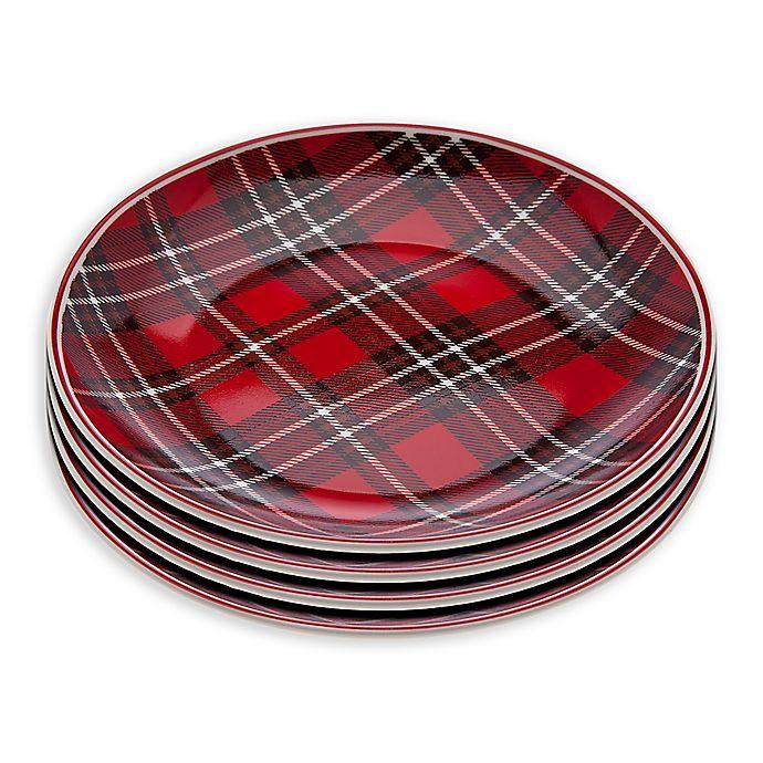 Alternate image 1 for Godinger Plaid Appetizer Plates (Set of 4)