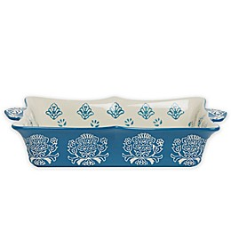 Baum Tapestry Rectangular Oven to Table Bake/Serve Dish Blue