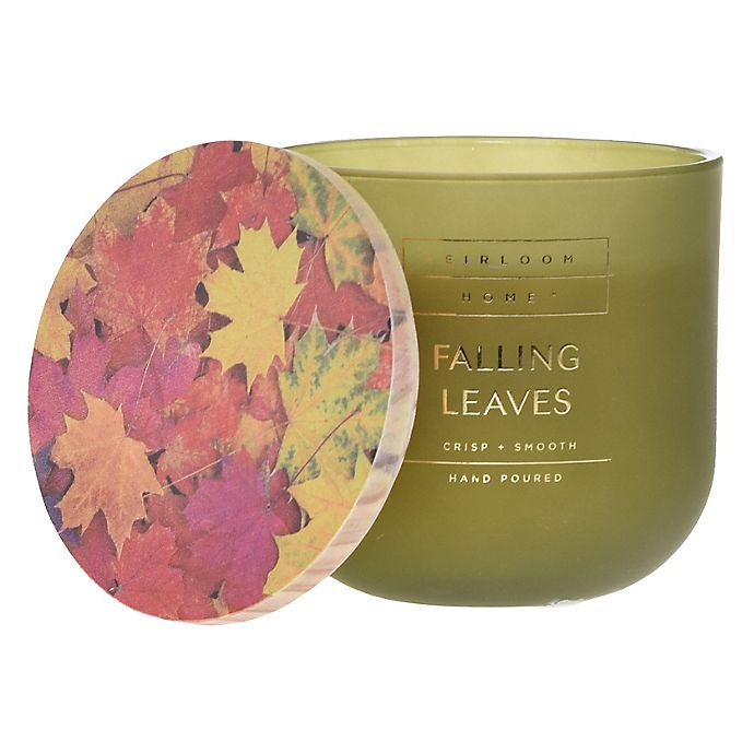 Alternate image 1 for Heirloom Home™ Falling Leaves 14 oz. Jar Candle with Wood Lid