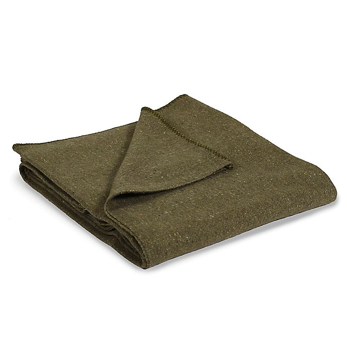 Alternate image 1 for Stansport® Wool-Blend 60-Inch x 80-Inch Travel Blanket in Olive Green