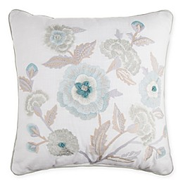 Floral Embroidered Square Throw Pillow in Spa