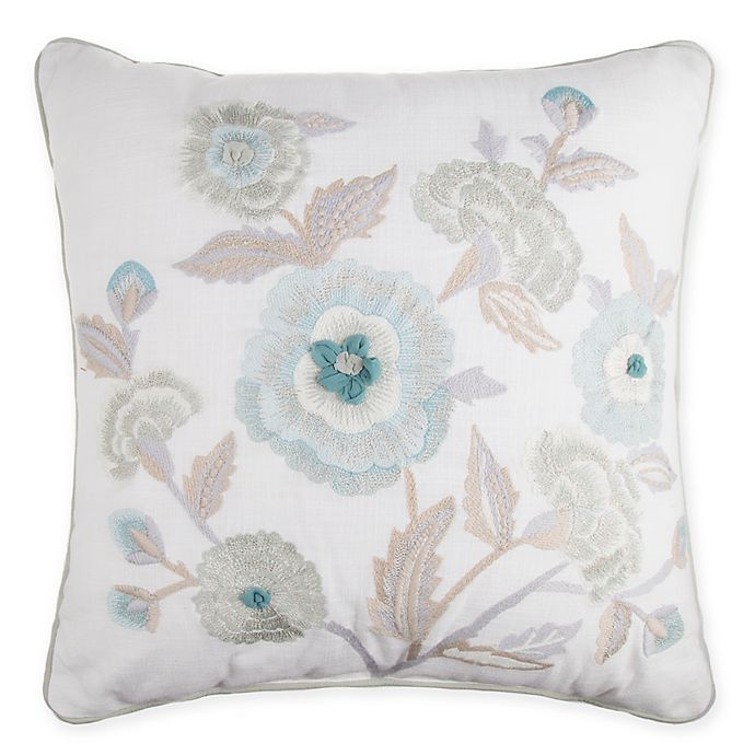 Alternate image 1 for Floral Embroidered Square Throw Pillow in Spa