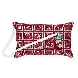 Advent Calendar Oblong Throw Pillow in Red