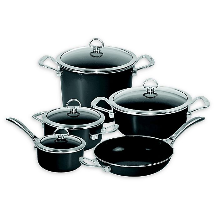Alternate image 1 for Chantal® Copper Fusion® Carbon Steel 9-Piece Cookware Set in Oynx