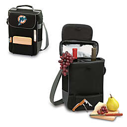 Picnic Time® Miami Dolphins Duet Insulated 2-Bottle Wine and Cheese Tote in Black