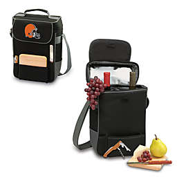 Picnic Time® Cleveland Browns Duet Insulated 2-Bottle Wine and Cheese Tote in Black