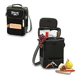 Picnic Time® Philadelphia Eagles Duet Insulated 2-Bottle Wine and Cheese Tote in Black