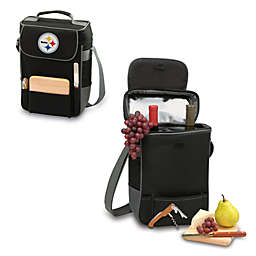 Picnic Time® Pittsburgh Steelers Duet Insulated 2-Bottle Wine and Cheese Tote in Black