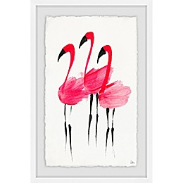 Marmont Hill Flush Flamingoes 12-Inch x 8-Inch Framed Wall Art