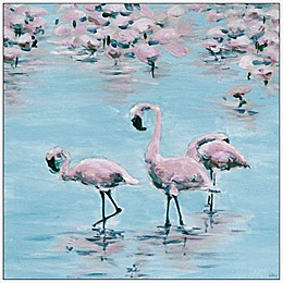 Marmont Hill Three Flamingos 16-Inch Square Canvas Wall Art with Floater Frame