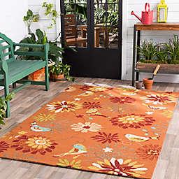 Surya Rain Floral Hand-Hooked Indoor/Outdoor Area Rug in Orange
