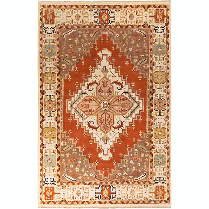 Alternate image 1 for Surya Zeus Center Medallion 9' x 13' Hand Knotted Area Rug in Rust/Butter