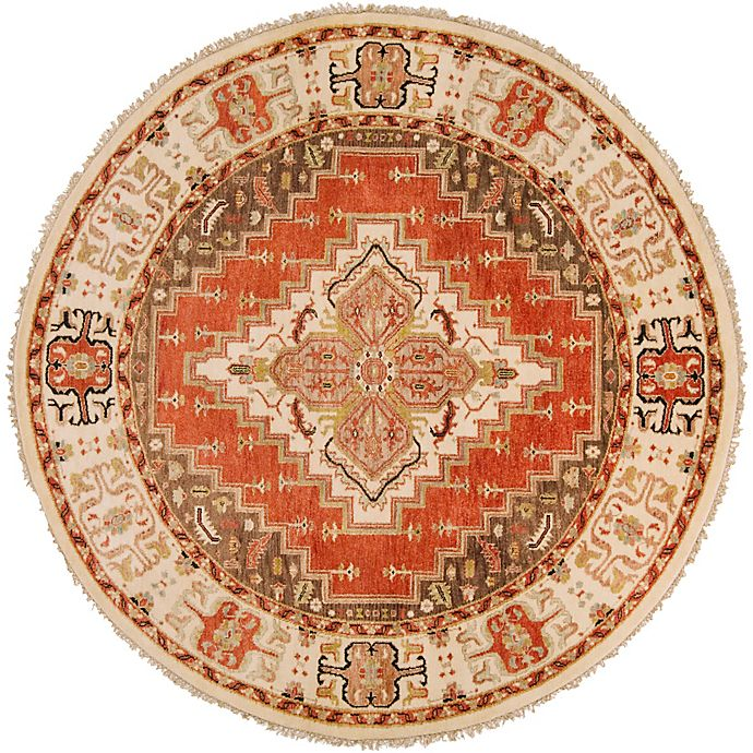 Alternate image 1 for Surya Zeus Center Medallion 8' Round Hand Knotted Area Rug in Rust/Butter