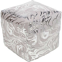 Surya Crescent Pouf in Grey/Silver