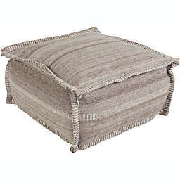 Surya Barnsley Pouf in Taupe/Camel