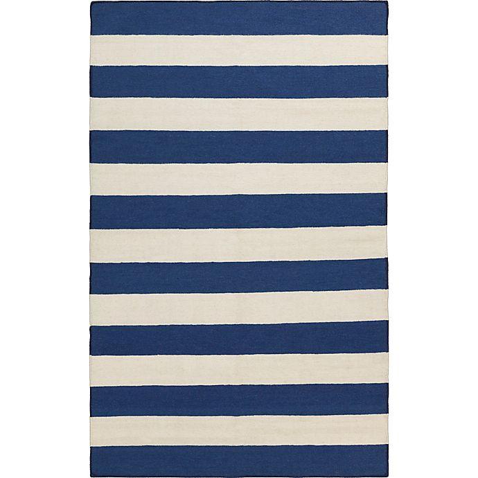 Alternate image 1 for Surya Frontier Striped 5' x 8' Area Rug in Dark Blue/White