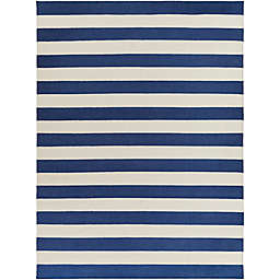 Surya Frontier Striped 8' x 11' Area Rug in Dark Blue/White