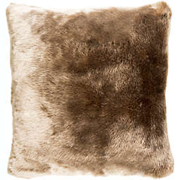 Surya Innu Hair on Hide Square Throw Pillow in Tan