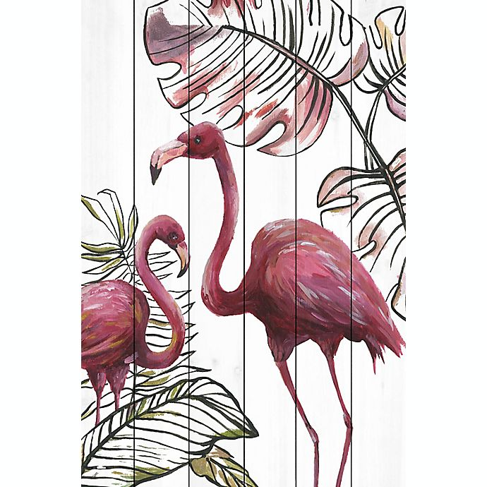 Alternate image 1 for Marmont Hill Tropical Flamingos 12-Inch x 18-Inch Wood Wall Art