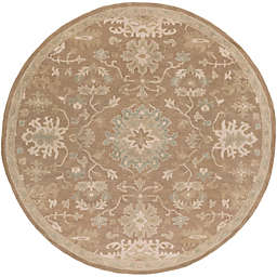 Surya Caesar 4' Handcrafted Round Area Rug in Brown/Grey