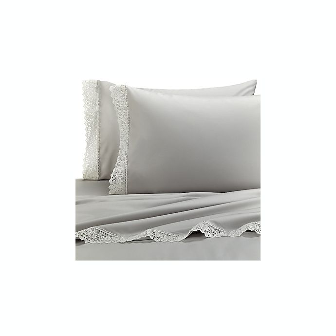 Raymond Waites Estate Lace Simone California King Sheet Set In Grey