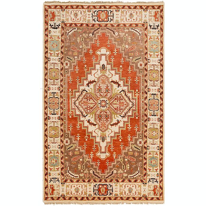 Alternate image 1 for Surya Zeus Center Medallion 3'9 x 5'9 Hand Knotted Area Rug in Rust/Butter