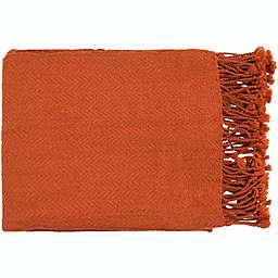 Surya Turner Throw Blanket in Burnt Orange