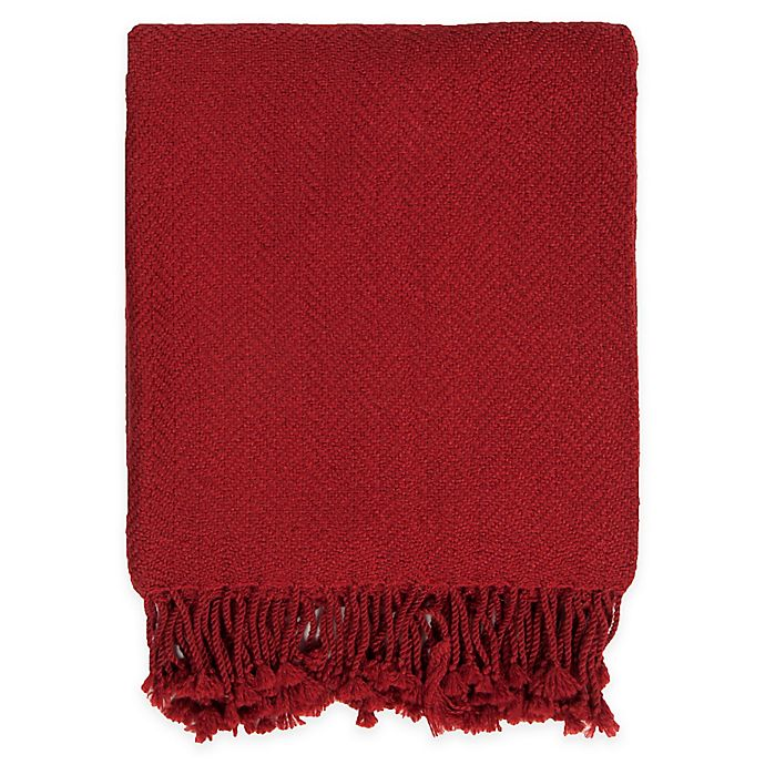 Alternate image 1 for Surya Turner Throw Blanket in Bright Red