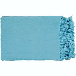 Surya Turner Throw Blanket in Sky Blue