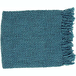 Surya Tobias Throw Blanket in Teal
