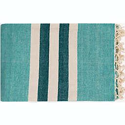 Surya Troy Throw Blanket in Mint/Cream