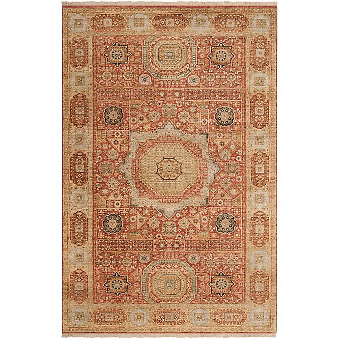 Alternate image 1 for Surya Cambridge Center Medallion Hand Knotted Rug in Rust/Cream