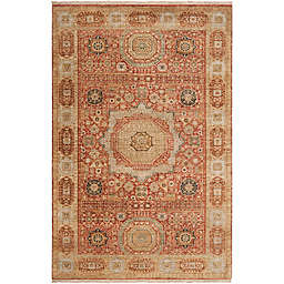 Surya Cambridge Center Medallion Hand Knotted Rug in Rust/Cream