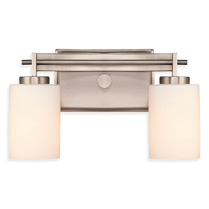 Alternate image 1 for Taylor 2-Light Bathroom Fixture in Antique Nickel with Opal Etched Glass Shades