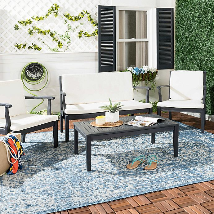 Alternate image 1 for Safavieh Fresno 4-Piece Outdoor Dining Set in Dark Slate Grey