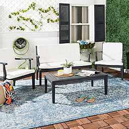 Safavieh Fresno 4-Piece Outdoor Dining Set in Dark Slate Grey