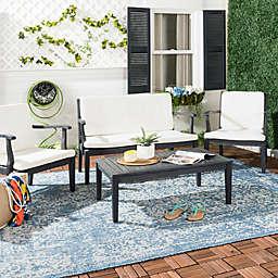 Safavieh Fresno 4-Piece Outdoor Dining Set in Dark Slate Grey