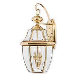 Quoizel® Newbury 2-Light Outdoor Fixture in Polished Brass
