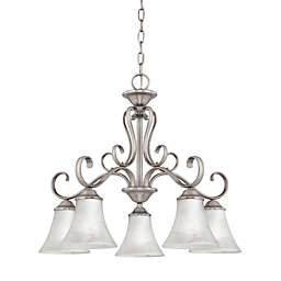 Quoize® Duchess 5-Light Chandelier in Palladian Bronze Finish with Champagne Marble Glass