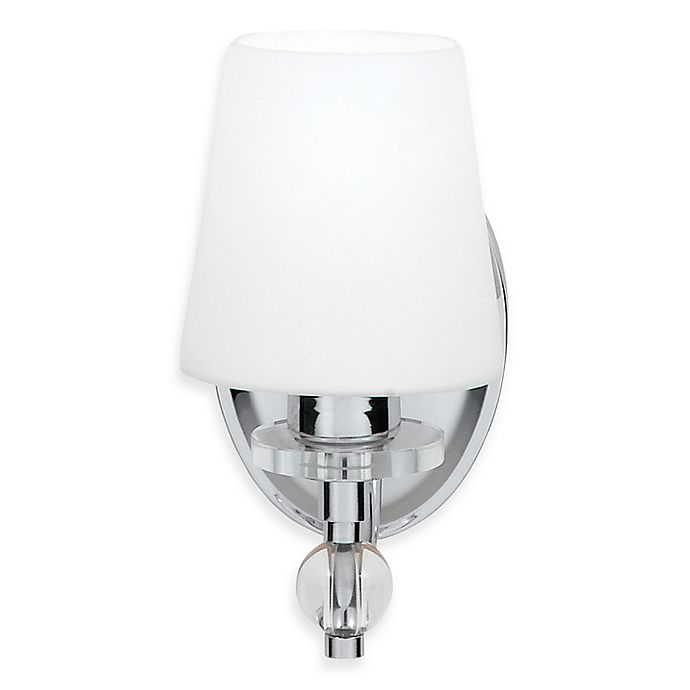 Alternate image 1 for Quoizel® Hollister Collection Polished Chrome 1-Light Bath Fixture w/White Etched Glass Shade