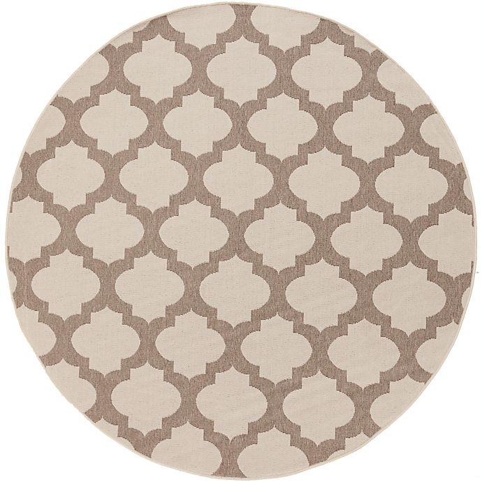 Alternate image 1 for Surya Alfresco Modern Quatrefoil 5'3 Round Indoor/Outdoor Rug in Natural/Brown