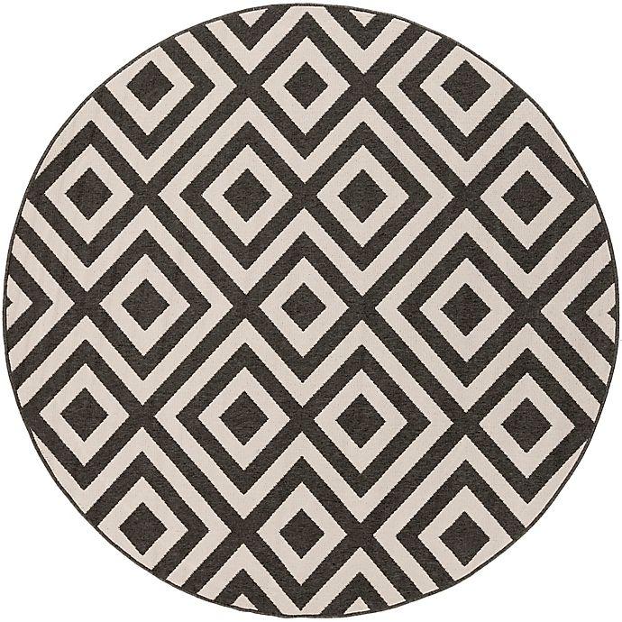 Alternate image 1 for Surya Alfresco 5'3 Round Area Indoor/Outdoor Rug in Black/Cream
