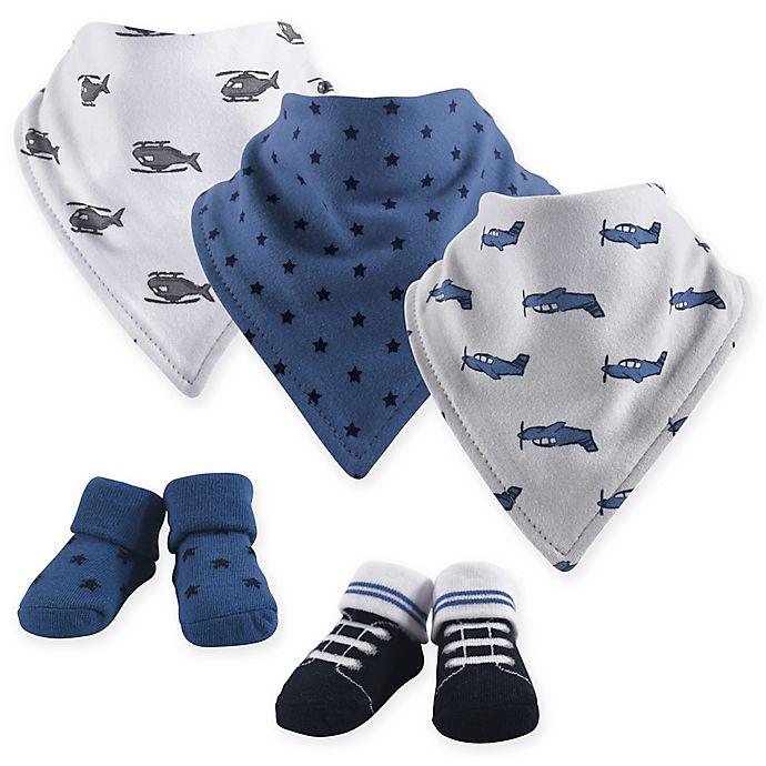 Alternate image 1 for Hudson Baby 5-Piece Wingman Bandana Bib & Socks in Blue
