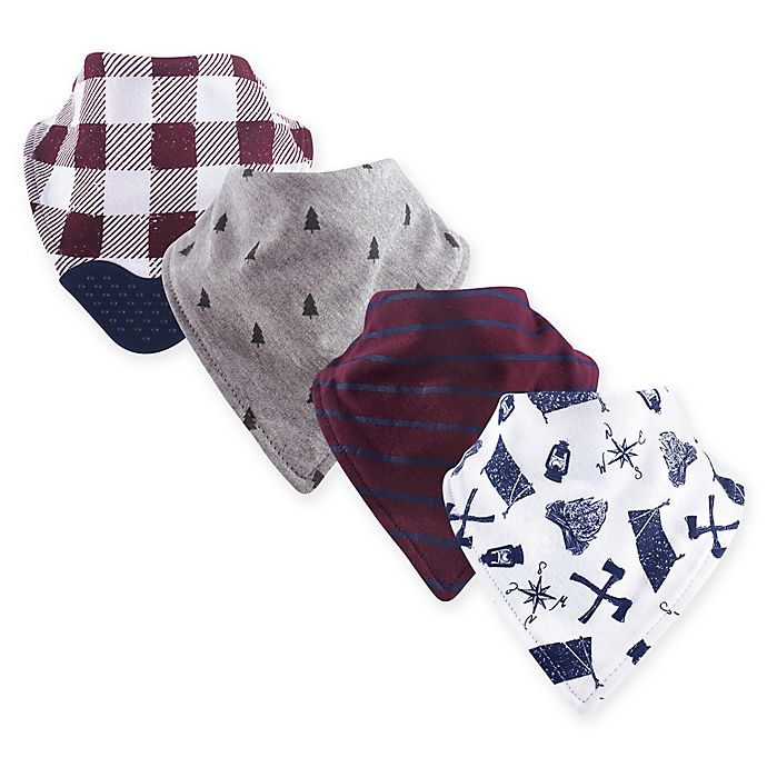 Alternate image 1 for Yoga Sprout 4-Pack Happy Camper Bandana Bib with Teether in Red