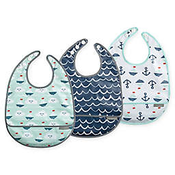 JJ Cole 3-Pack Sailboats Catch-All Bib Set