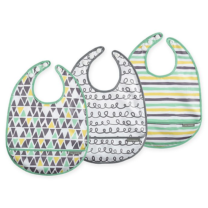 Alternate image 1 for JJ Cole® 3-Pack 50 Shapes of Grey Catch-All Bib Set
