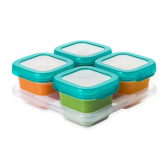 Alternate image 1 for OXO® Tot 6 oz. Food Storage Baby Blocks in Teal (Set of 4)